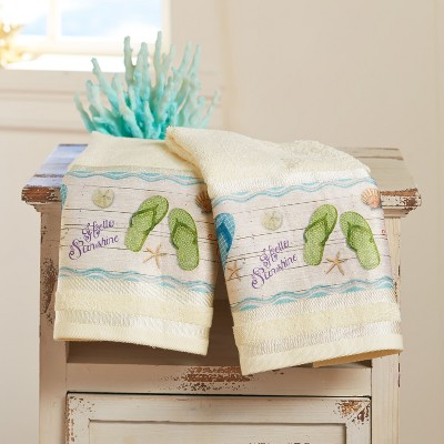 Lakeside Flip-Flop Hand Towels - Tropical Island Bathroom Décor - Set of 2