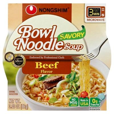 Nongshim Bowl Noodle Soup Beef Flavor - 3.03oz