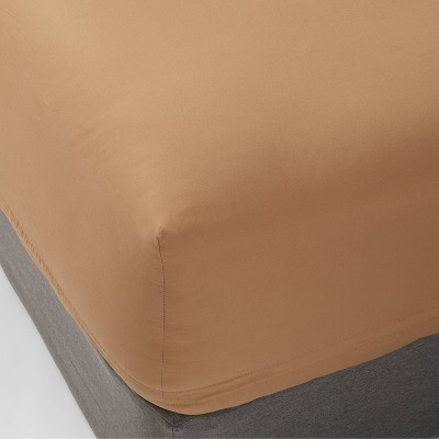 King 300 Thread Count Ultra Soft Fitted Sheet Brown - Threshold™
