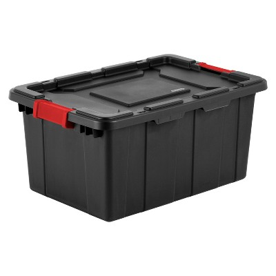 Sterilite 15 Gal Industrial Tote Black with Red Latches