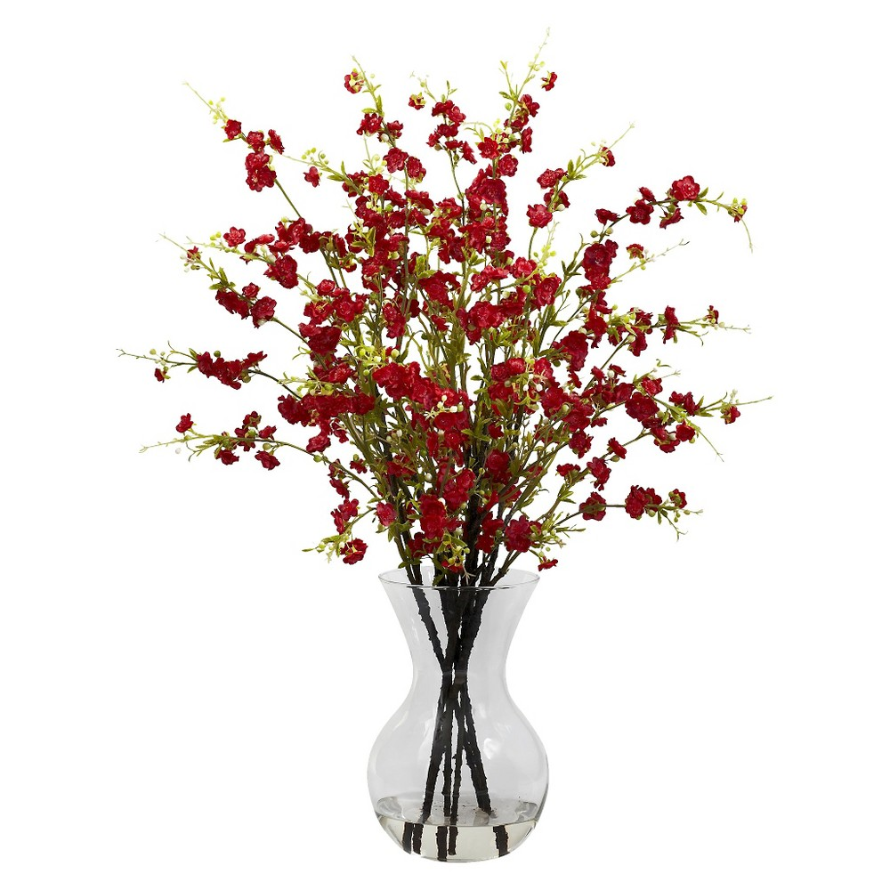 Nearly Natural Cherry Blossoms w/Vase Arrangement, Red