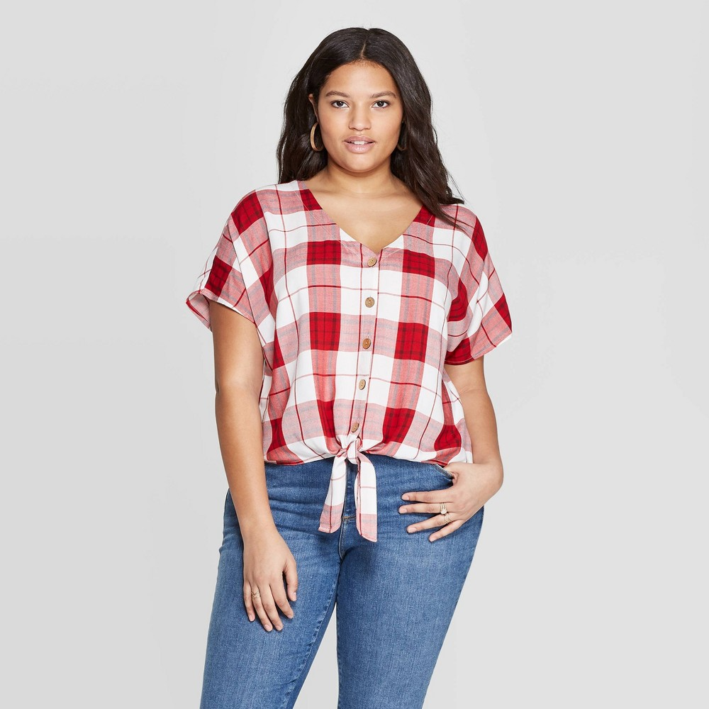 Women's Plus Size Plaid Short Sleeve V-Neck Tie Front Top - Universal Thread Red 3X
