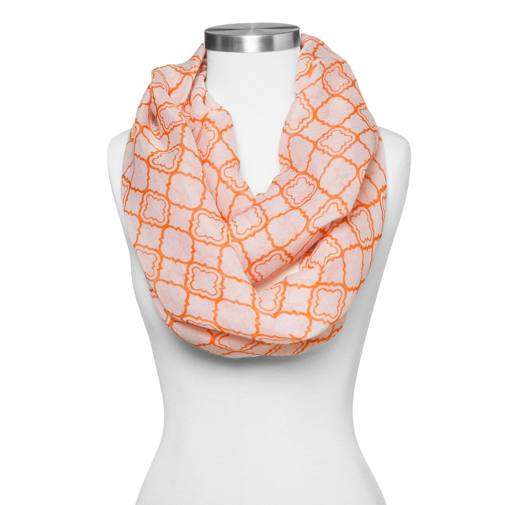 Women's Diamond Shape Print Infinity Scarf - Ivory/Orange