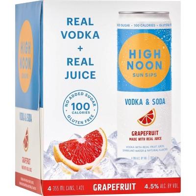 High Noon Sun Sips Grapefruit Vodka & Soda - 4pk/355ml Cans
