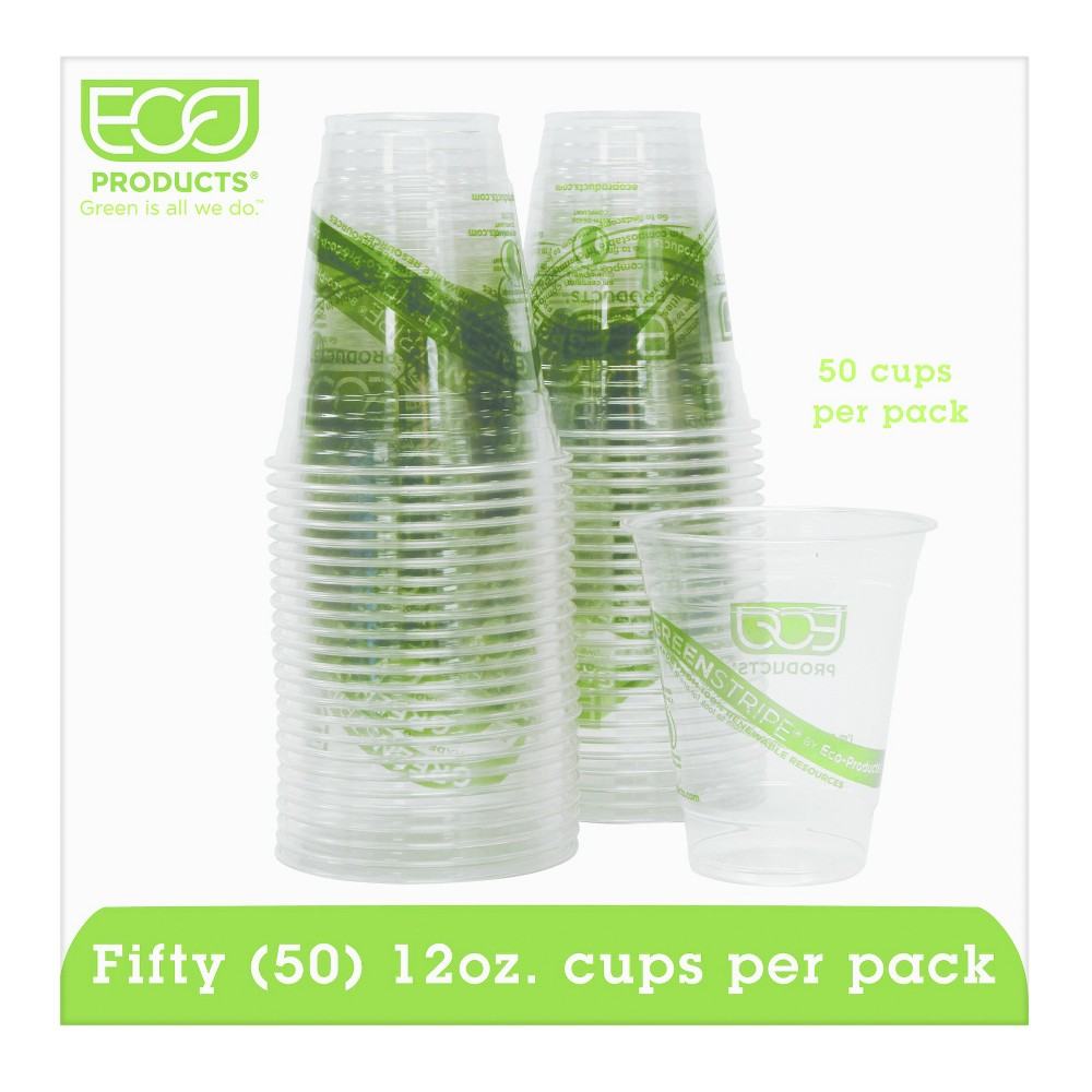 Eco-Products Green Stripe Renewable & Compostable Cold Cups Convenience Pack 12oz - 50ct, Clear