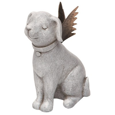 Transpac Resin 5 in. Gray Spring Prayer Dog with Metal Wings Figurine