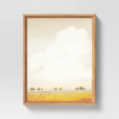"16"" x 20"" Meadow with Fence Post Framed Wall Art Yellow - Threshold™"