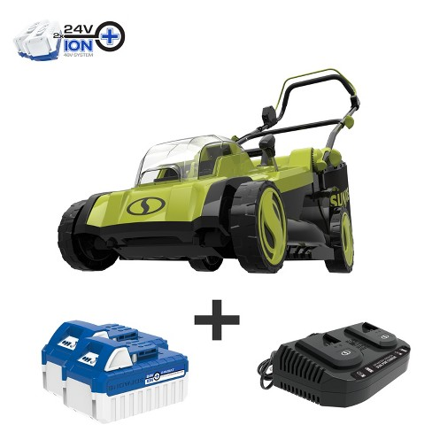Sun Joe 24V-X2-17LM 48-Volt iON+ Cordless Lawn Mower Kit | 17-inch | 6-Position | W/ 2 x 4.0-Ah Batteries, Dual Port Charger, and Collection Bag. - image 1 of 4