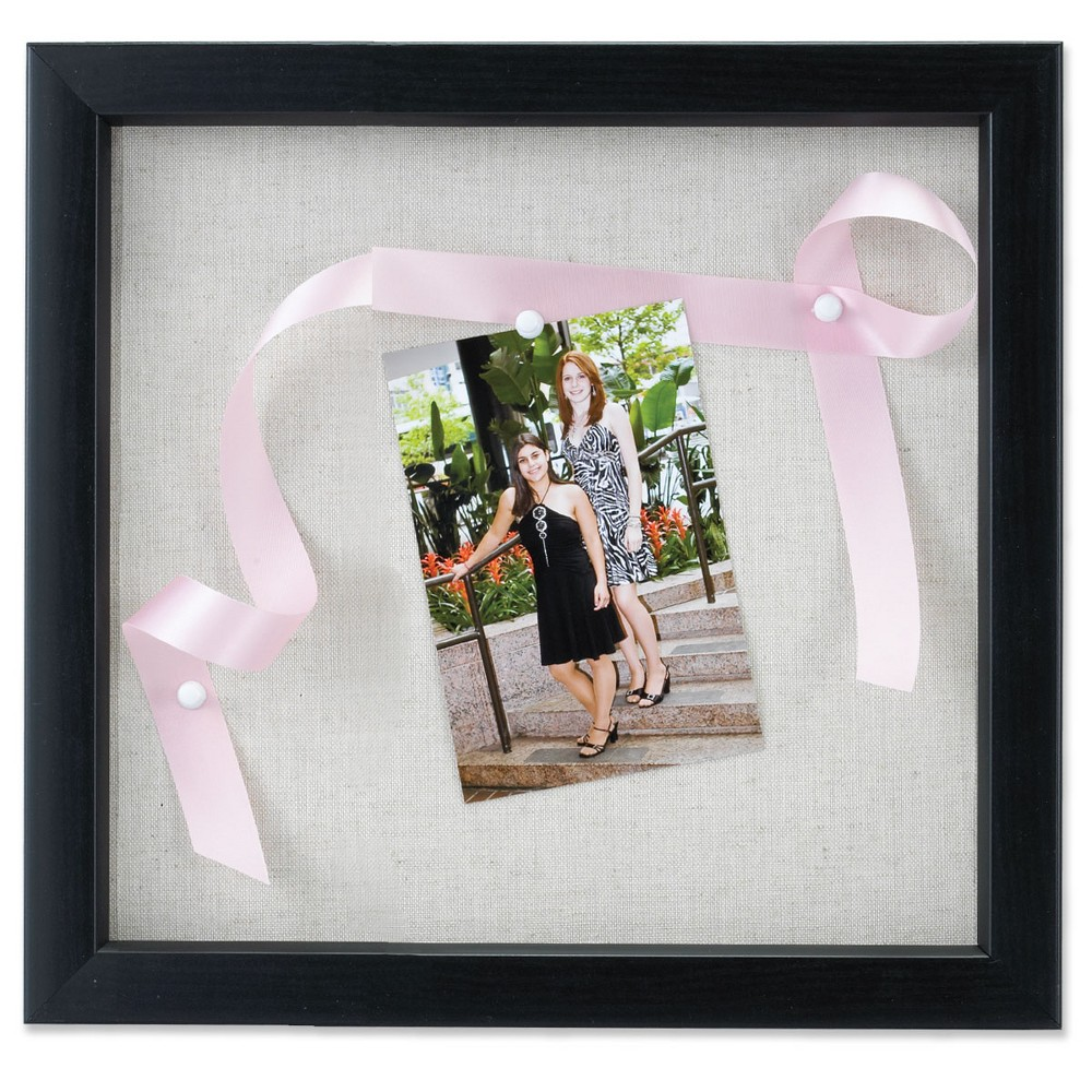 "Image of ""12""""x12"""" Linen Inner Display Shadow Box Frame Black - Lawrence Frames"""