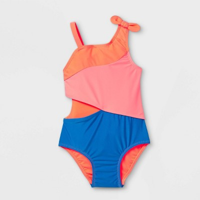Toddler Girls' 'One Should Cutout' One Piece Swimsuit - Cat & Jack™ Peach/Blue
