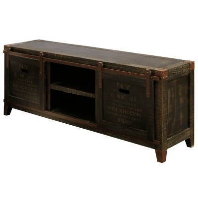 """60"""" Archer Ridge Vintage Media Cabinet Brown - StyleCraft"""