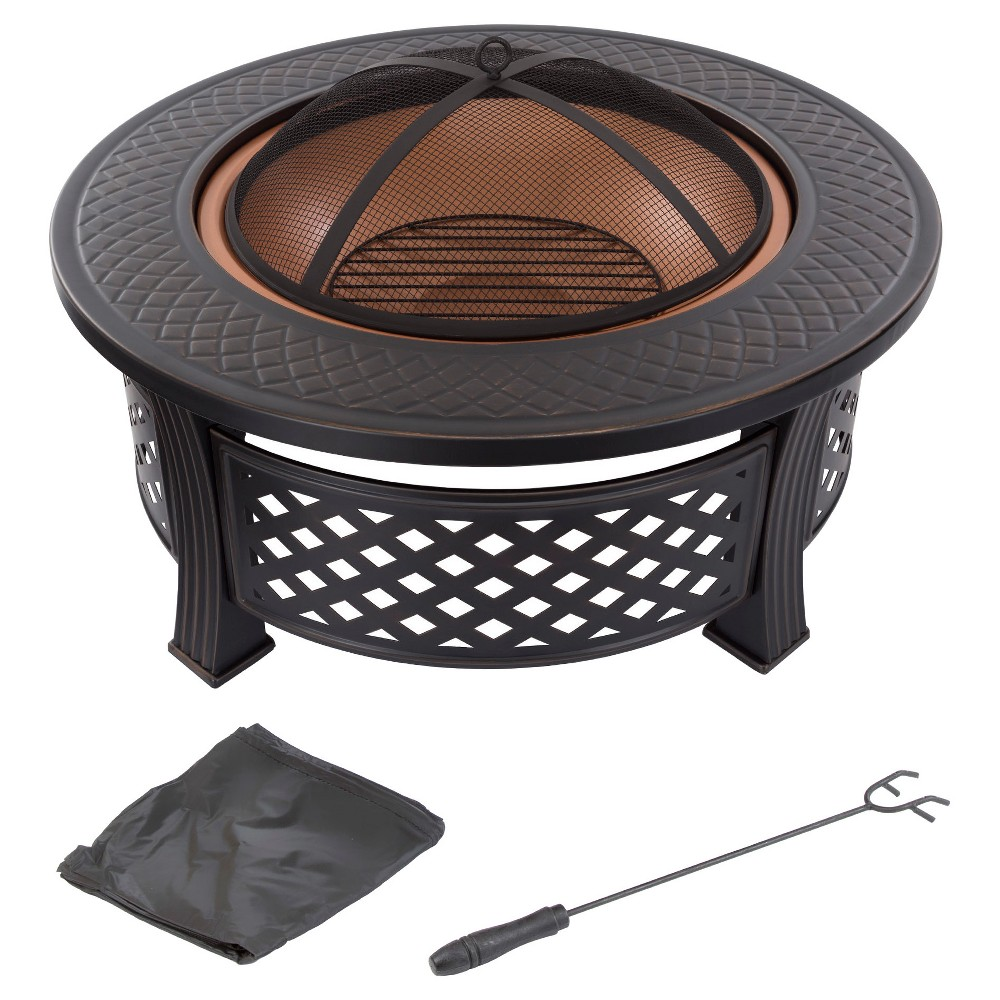 Fire Pit Set Wood Burning Pit 32 Round - Pure Garden, Black
