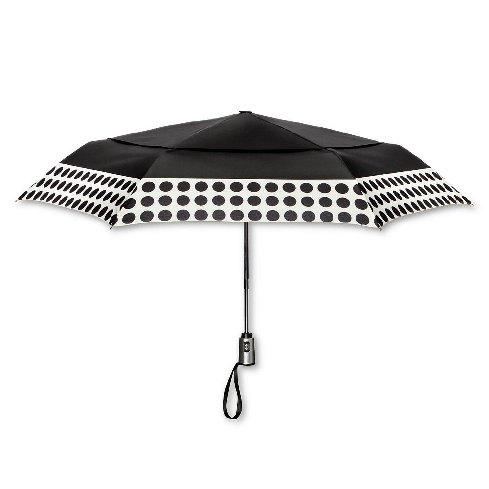 ShedRain Auto Open/Close Air Vent Compact Umbrella - Black Polka Dot
