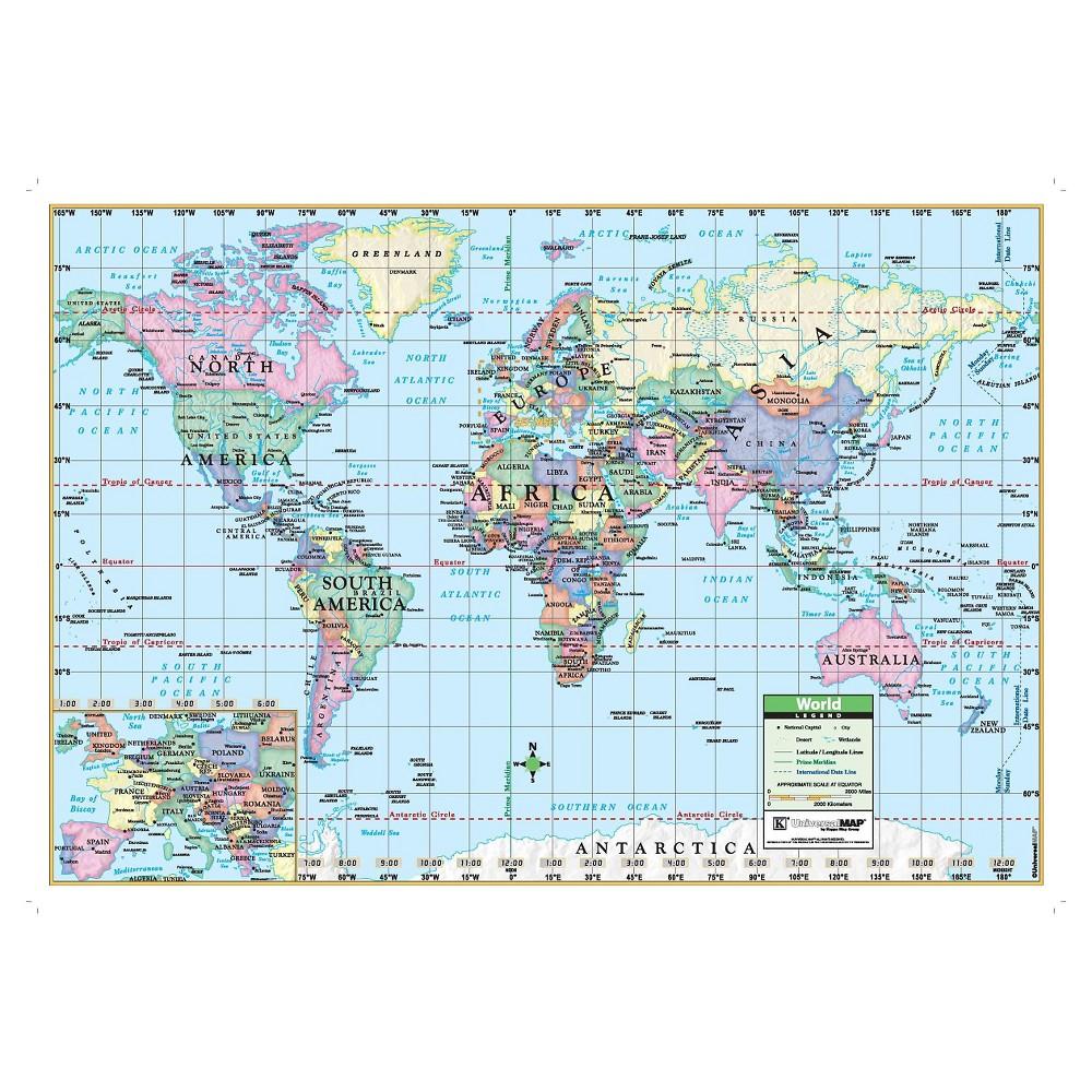 """Image of """"Kappa Map World Wall Map 40"""""""" x 28"""""""""""""""