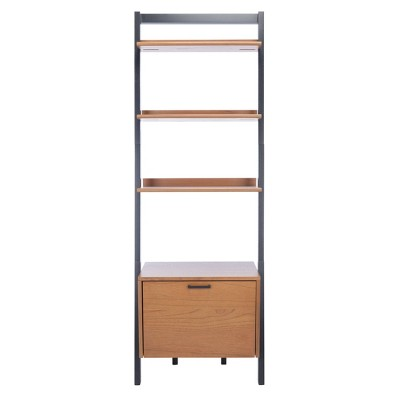 "71.96"" Lavina 3 Shelves and 1 Door Etagere Natural/Charcoal - Safavieh"