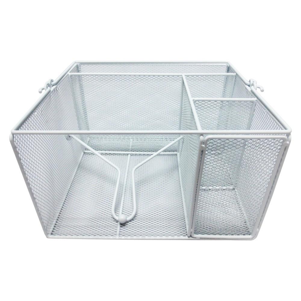 Steel Mesh Dinnerware Caddy - White