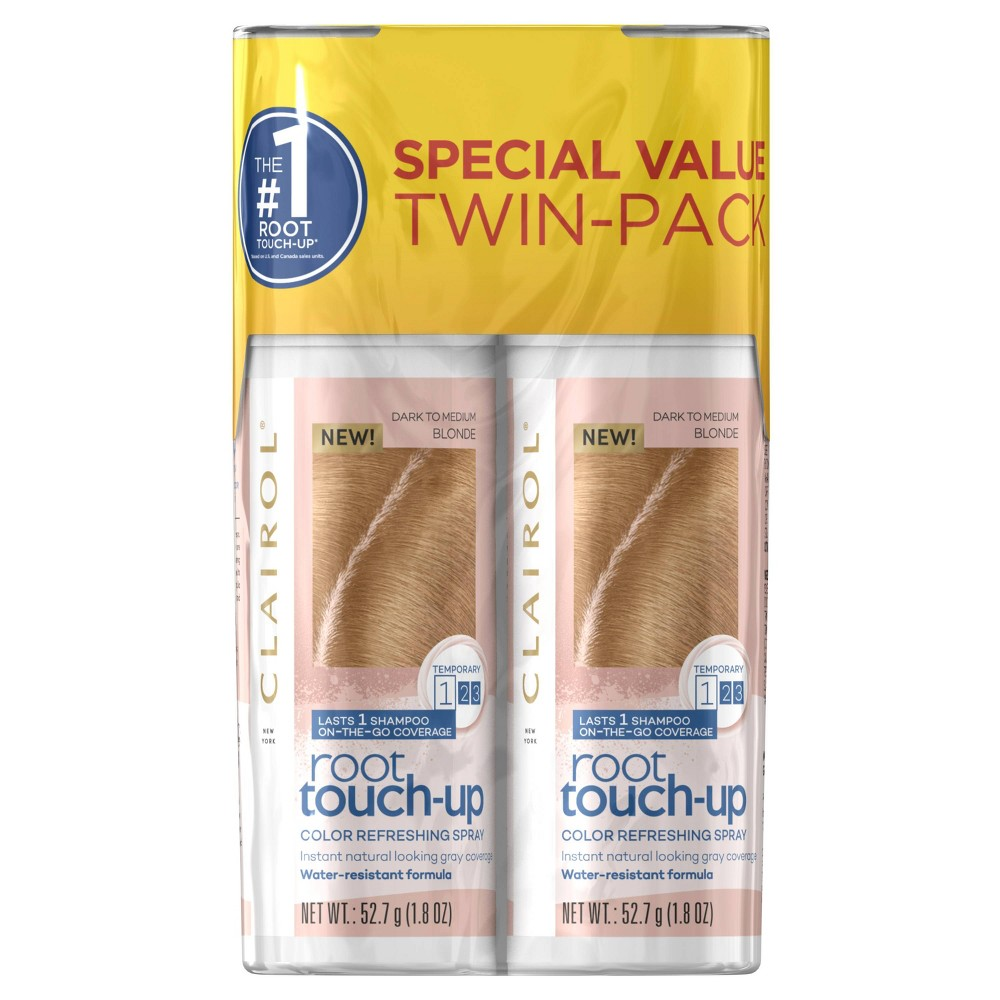 Image of Clairol Root Touch-Up Color Refreshing Spray Twin Pack - Medium Blonde - 3.6oz, Medium Yellow