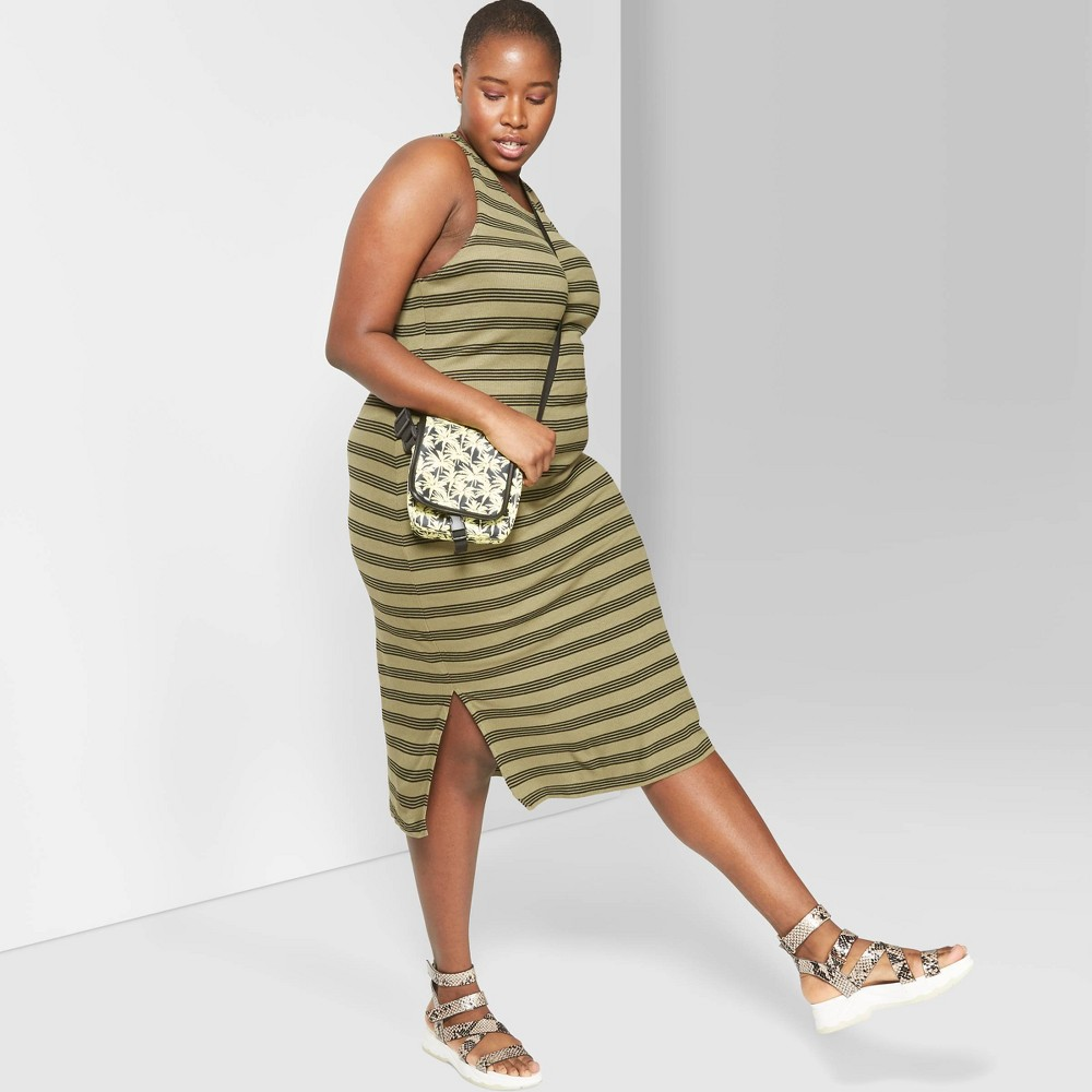 0aec73f06e7a21 Womens Plus Size Striped Sleeveless Round Neck Knit Tank Midi Dress Wild  Fable Olive 3X Green