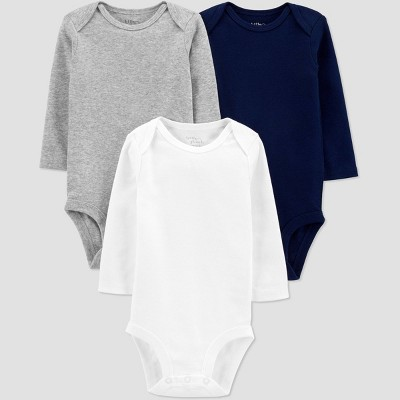 Baby Boys' 3pk Organic Cotton Long Sleeve Bodysuit - little planet organic by carter's Blue Preemie