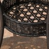 "Figi Wicker 27"" Round Glass Patio Dining Table - Brown - Christopher Knight Home - image 4 of 4"