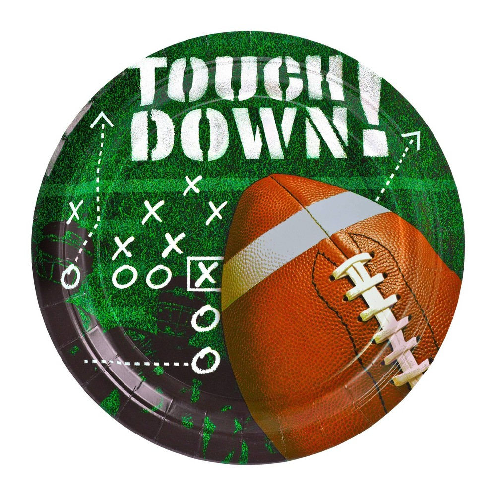 """Image of """"Touchdown 9"""""""" 50ct Football Frenzy Dinner Plates"""""""