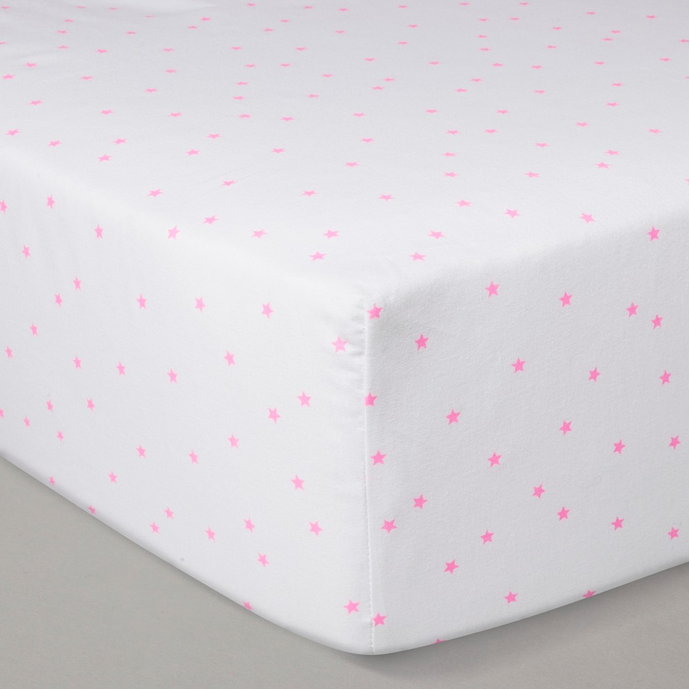 Crib Fitted Sheet - Cloud Island White/Pink, Pink White