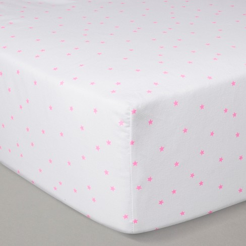 Crib Fitted Sheet - Cloud Island™ White/Pink - image 1 of 2