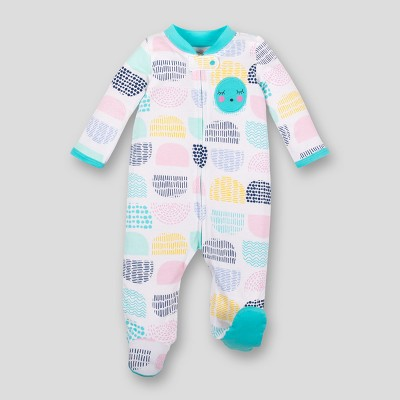 Lamaze Baby Girls' Organic Multi Color Dot Print Zip Sleep 'N Play - Turquoise 3M
