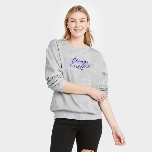 Women's Always Grateful Graphic Sweatshirt - Gray - image 1 of 2