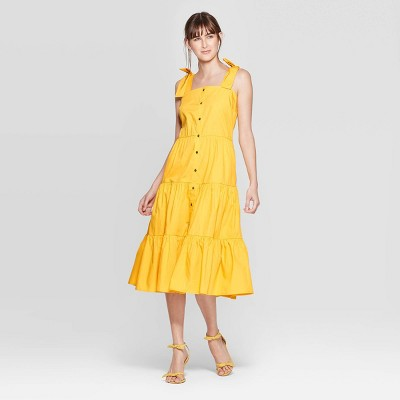 Women's Sleeveless Square Neck Tiered Button Front A Line Midi Dress   Who What Wear by Who What Wear