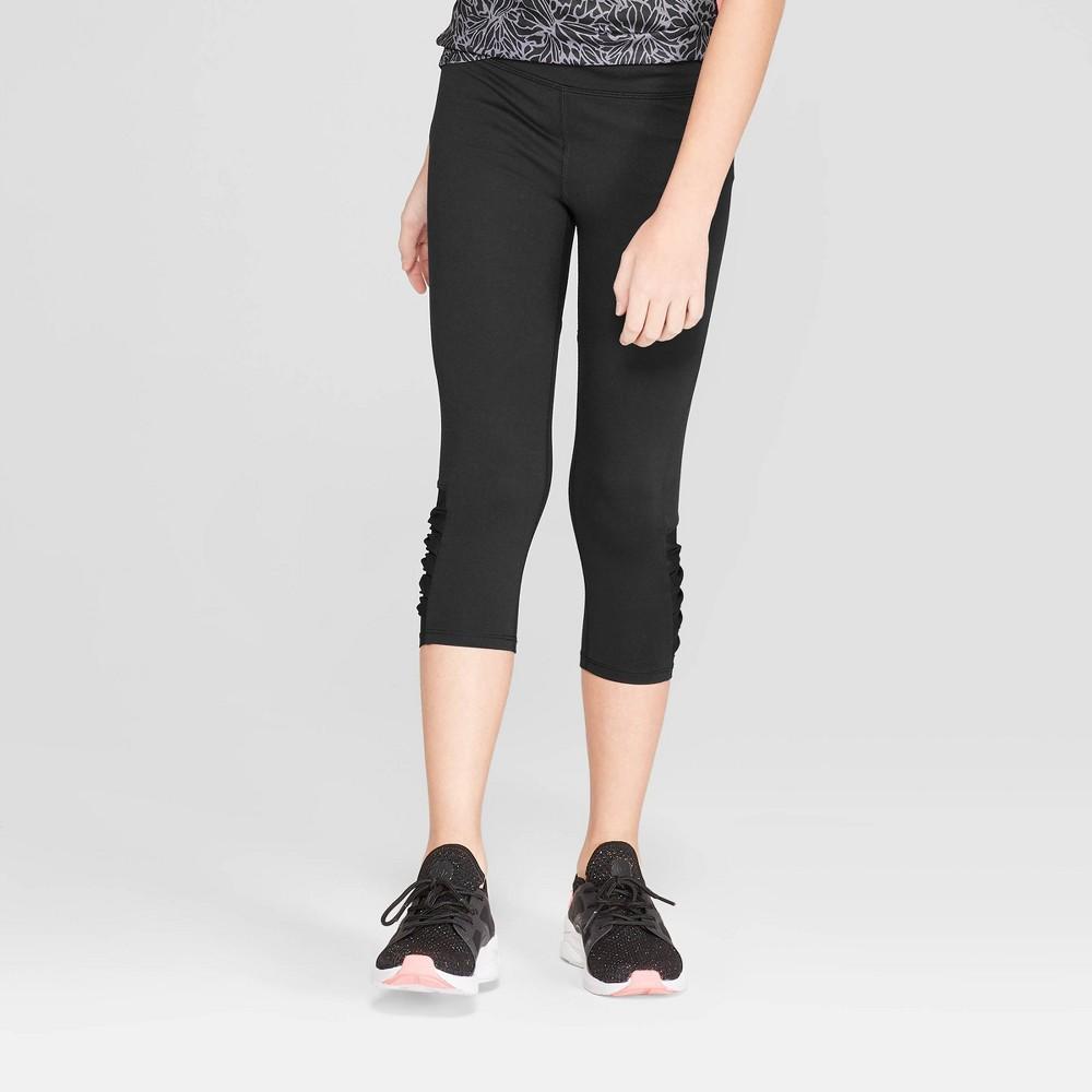 3d70c395c26eca Girls Mesh Pieced Capri Leggings C9 Champion Solid Black XL