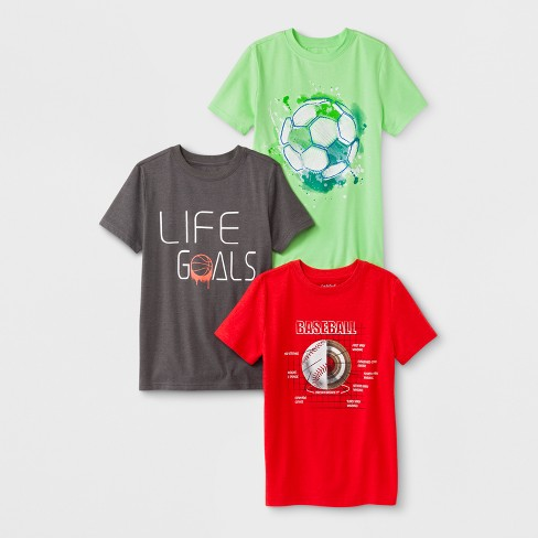 Boys' 3pk Short Sleeve T-Shirt - Cat & Jack™ Gray/Green/Red - image 1 of 1