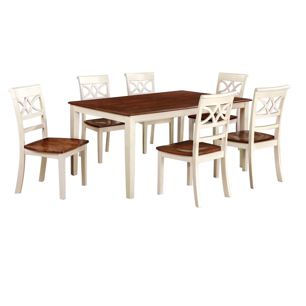 ioHomes 7pc Country Style Dining Table Set Wood/Vintage White And Oak
