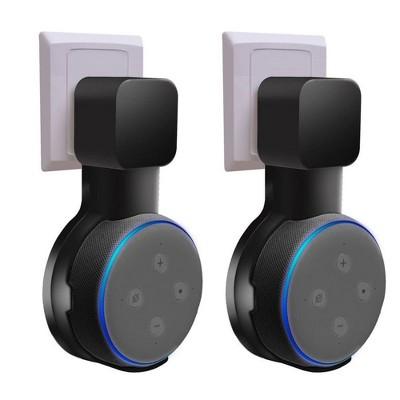 For Amazon Echo Dot 3rd Gen Wall Mount (1 / 2 Pack) Smart Home Speaker Alexa Accessories Outlet Hanger Holder Hide Messy Wires, Black by Insten
