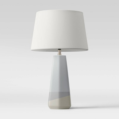 Large Dipped Ceramic Lamp with Linen Shade Blue/Cream - Threshold™