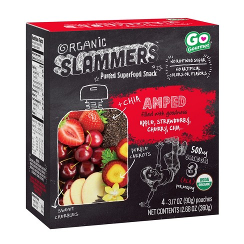 Organic Slammers Superfood Smoothie Amped Fruit & Veggie Pouch With Chia - 3.17oz 4pk - image 1 of 2