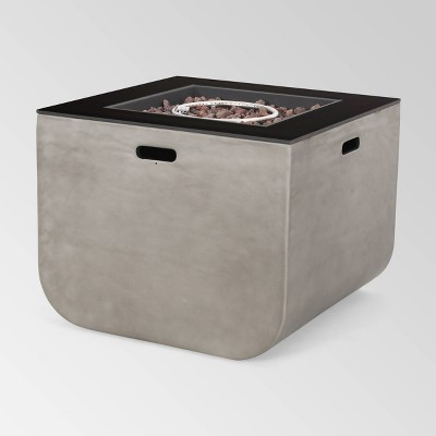 """Adio Square 30"""" Light Weight Concrete Gas Fire Pit - Light Gray"""