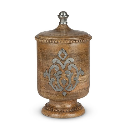 GG Collection Wood and Metal Inlay Medium Heritage Collection Canister