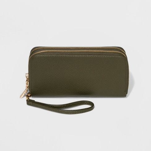 Classic Double Zip Around Wristlet - A New Day™ - image 1 of 2