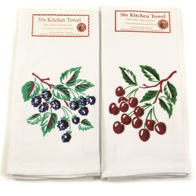 """Tabletop 24.0"""" Cherry Blackberry Towels Set/2 100% Cotton Flour Sack Summer Red And White Kitchen Company  -  Kitchen Towel"""