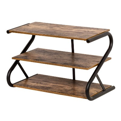 Honey-Can-Do Rustic Z-Frame Shoe Rack Brown
