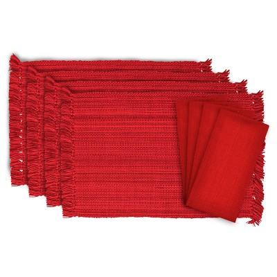 Red Fringe Variegated Placemats & Napkins Set Of 8 - Design Imports