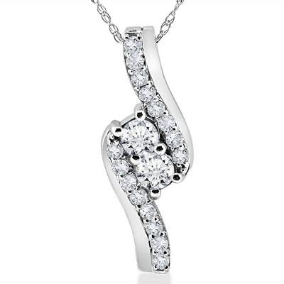 Pompeii3 3/4CT Forever Us Two Stone Diamond Pendant 10K White Gold