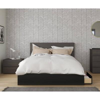 3pc Queen Evoque Bedroom Set Black - Nexera
