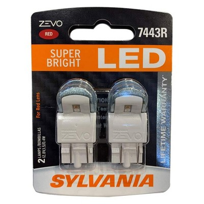 Sylvania Zevo 7443 Red LED T20 DC Super Bright Interior and Exterior Daytime Running DLR and Back Up Reverse Light Mini Auto Light Bulb Set, 2 Pack