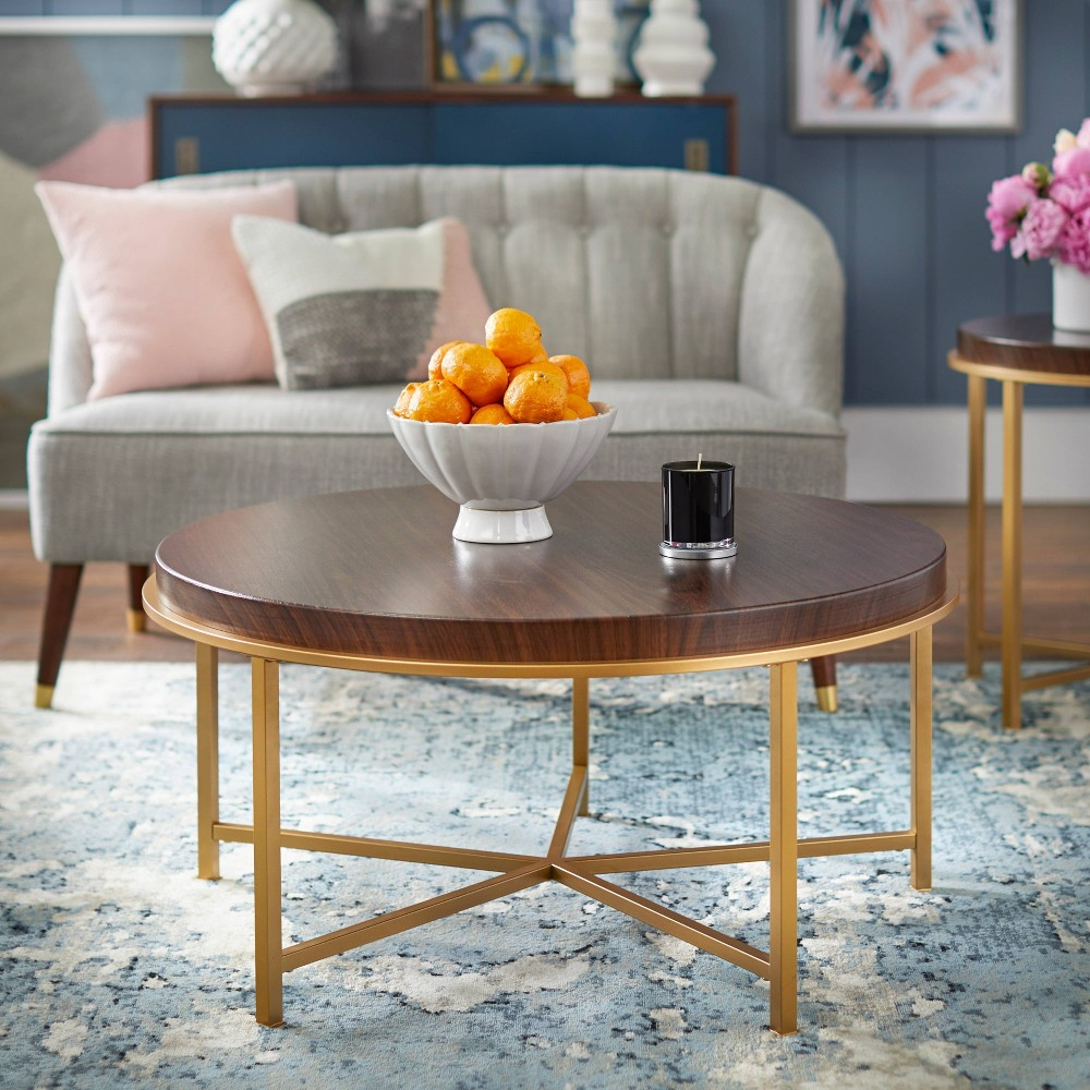 Image of Bohdi Coffee Table - Walnut/Gold - angelo : Home