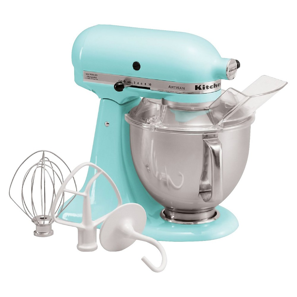 KitchenAid Artisan Series 5 Quart Tilt-Head Stand Mixer- Ksm150, Ice Blue Whether you're looking for a housewarming or wedding gift, or simply looking to add a versatile tool to your own kitchen, this KitchenAid Artisan Stand Mixer is the perfect solution. It features 10 different speed settings, a tilt-head design, and a 5-quart stainless steel mixing bowl that fits a variety of different mixing needs. This electric stand mixer comes with a dough hook, flat beater, wire whisk and pouring shield so you can create a wide range of baked goodies or recipes with ease. The accessory hub on the front of the mixer allows you to buy additional attachments to utilize this mixer even more. This sturdy and durable stand mixer has a 325-watt motor that can handle the thickest doughs or mixing-intense recipes with ease. The sleek and modern design will add a pop of style to any kitchen countertop and will always be at your fingertips when you need to whip up baked goodies or homemade recipes. Color: Ice Blue.