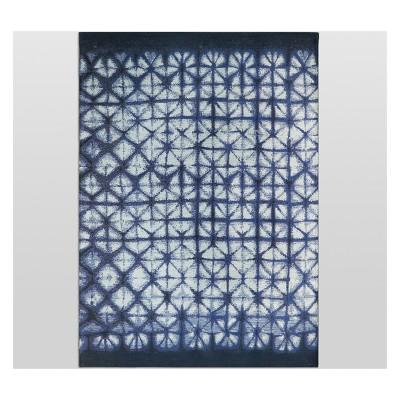 7' x 10' Shibori Tile Outdoor Rug Navy - Threshold™
