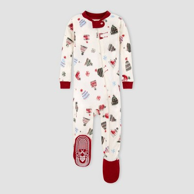 Burt's Bees Baby® Baby Organic Cotton Winter Hat Footed Pajama - Red/Off-White 12M