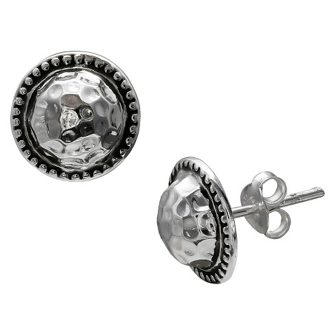 Women's Oxidized and Polished Stud Earrings in Sterling Silver - Silver (11mm) - image 1 of 1